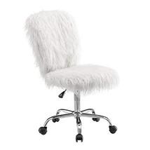 Linon Cora Faux Flokati Armless Office Chair, White - $124.05