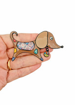 "2.5"" Wide Enamel Doxie Wiener Dachshund Dog Brooch Pin C Clasp Animal Jewelry - $12.17"