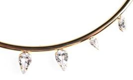 New Yoshi New York Gold Plated Clear Crystal Half Circle Bar Statement Necklace image 2