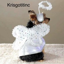 Pet Halloween Costume Medium Female Dogs My Little Angel Wings Halo NEW - £8.54 GBP