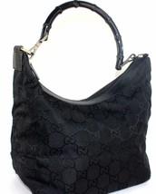 Authen GUCCI GG Pattern Black Fabric bamboo handle Shoulder Bag/handbag... - $137.61