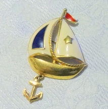 Vintage Avon Enamel Sailboat with Anchor Brooch - $10.00