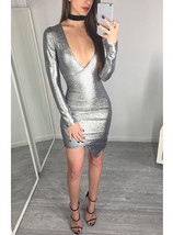 Silver Wrap Style Long Sleeve Dress - Shimmering Fabric / Mini Cut image 3