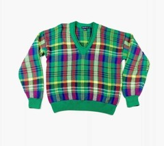 Vintage Nautica Size S/P Multicolor Plaid V Neck Cable Knit Sweater - $25.73