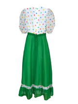 60s-70s Sheer Chiffon Rainbow Polka Dot Kelly Green Ruffle Skirt Boho Folk Dress image 8