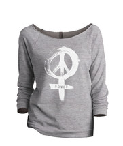 Thread Tank Power Sign Women's Slouchy 3/4 Sleeves Raglan Sweatshirt Sport Grey - $24.99+