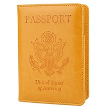 GDTK Leather Passport Holder Cover RFID Blocking Travel Wallet Yellow - $10.56