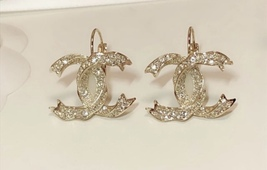 SALE* AUTHENTIC Chanel Gold CC Ribbon Crystal Large Piercing Earrings image 3