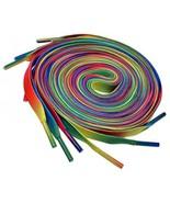 COSMOS 3 Pair 51 Inches Long Neon Flat Shoe Shoelaces Shoe Laces (Rainbow) - $20.37