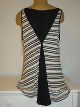 Lane Bryant Black White Silver Tunic Top Semi Sheer Flowy Back-14/16 1X-NEW $40. - $14.52