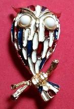 VINTAGE DESIGNER OWL WHITE, RED, BLUE ENAMEL FIGURAL BIRD BROOCH PIN - $40.00