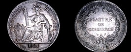 1924-A French Indo-China 1 Piastre World Silver Coin - Vietnam - $124.99