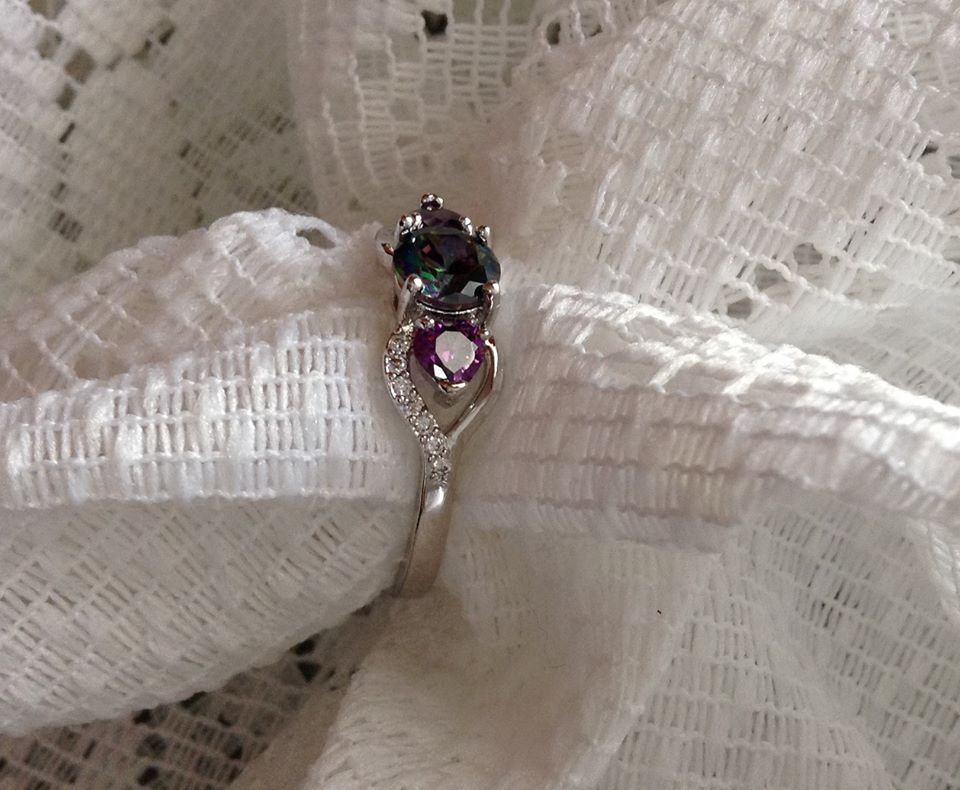 Oval Rainbow Mystic Topaz and Amethyst SS Sz 6,7,8 OR 10 image 4