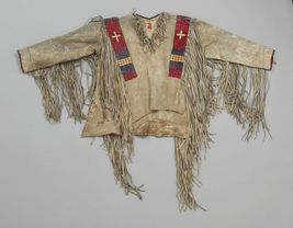 Men Native American Buckskin Beige Buffalo Leather Beaded Powwow War Shirt NA290 - $299.00