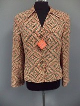 JONES NEW YORK COLLECTION Red Brown Blue Geo Print Lined Blazer Jacket 1... - $33.27