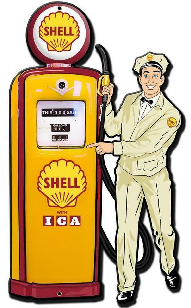 Primary image for Shell Gas Station Attendant with Pump Plasma Cut Metal Sign