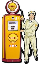 Shell Gas Station Attendant with Pump Plasma Cut Metal Sign - $60.00