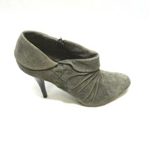 Guess Obstacle Ankle Bootie Heels Suede Leather Women Size 9.5 M Gray Zipper - $29.68