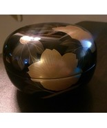 Black Bowl with Lid With Gold Colored Embellishments - $13.99