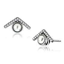 Women's Stainless Steel High polished CZ Clear Eye Fashion Earrings - $15.95