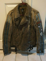 Diesel CLOTH Biker  Jacket L coat bomber ONE OF A KIND MADE IN ITLAY  - $923.94
