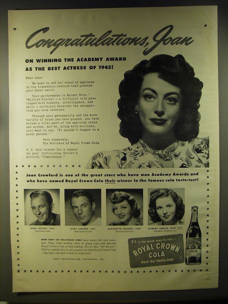 Primary image for 1946 Royal Crown Cola Advertisement - Joan Crawford, Bing Crosby, Gary Cooper