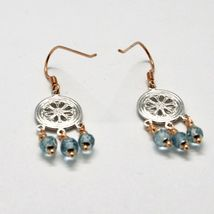 EARRINGS SILVER 925 LAMINATED GOLD PINK WITH AQUAMARINE FACETED image 5
