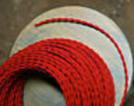 Red Twisted Rayon Cloth Covered Wire, Vintage Fabric Braided Color Lamp ... - $1.31