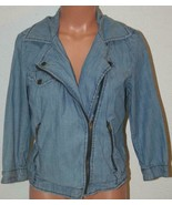 "AMERICAN EAGLE Denim Jean Jacket Lightweight Large Chest: 37"" Blue 3/4 S... - $11.65"