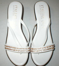 New Womens 10 Italian Shoemakers Crystals Wedge Sandals Platform Shoes White Brn image 2
