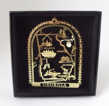 Georgia Brass Ornament State Landmarks Black Leatherette Gift Box - $14.95