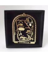 Georgia Brass Ornament State Landmarks Black Leatherette Gift Box - $14.95