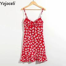 Red And White Floral Casual Summer Beach Sundress image 5