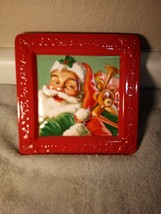HALLMARK  COOKIES FOR SANTA PLATE  RED  SQUARE--CHRISTMAS--  --FREE SHIP... - $21.77