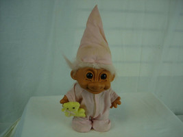 RUSS Pink Hair Troll Doll Pink Pajamas with the Night Cap and Teddy Bea... - $11.45