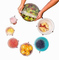 Silicone Stretch Lids Foods Universal Size Cover 7pcs XL Jars Bowls Lid ... - $30.77