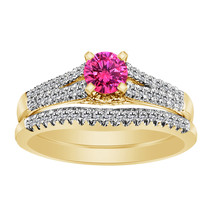 2.27 Ct Pink Sapphire & Diamond 14k Yellow Gold 925 Engagement Ring Set - $97.13