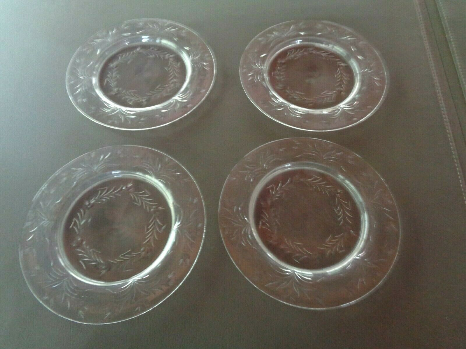 "Primary image for 4 VINTAGE  ETCHED GLASS  10"" SALAD OR DINNER PLATES*"