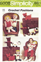 Vintage 1973 CROCHET DOLLS & ANIMALS: Bear-Tiger-Lamb  Pattern 6008-s - $8.00