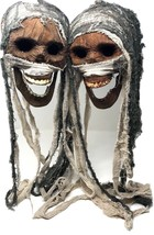 2 Vintage Modified Realistic Life size Mummy Head Skulls Halloween Prop ... - $35.99