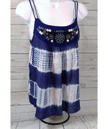 Verty Women's Tie-Dyed Sequined Blue White Spaghetti Strap Top Size-Smal... - $22.25