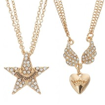 JUICY COUTURE gold tone star or Simulated crystal heart wing Necklace CA... - $5.99