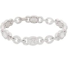 2 2/3Ct Oval & Round Cut White Diamond Tennis Bracelet In 14K White Gold... - $185.99