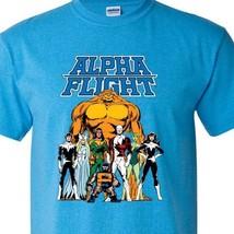 Alpha Flight T-shirt Aurora Guardian Puck Sasquatch Shaman 90s Marvel blue tee image 2