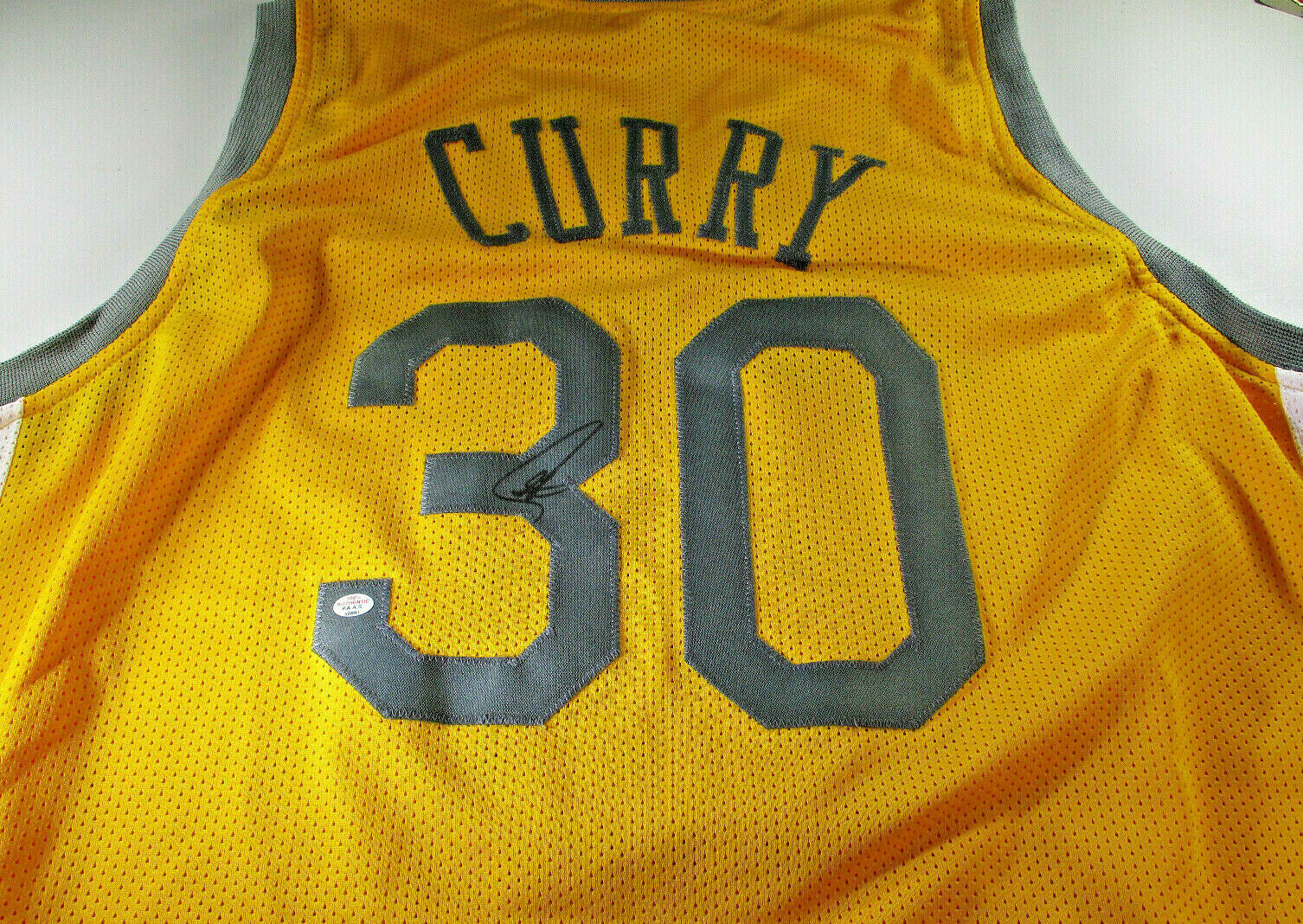 low priced 48f75 f91b8 STEPHEN CURRY / AUTOGRAPHED GOLDEN STATE WARRIORS YELLOW CUSTOM JERSEY / COA