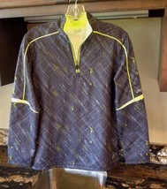 Asics Performance Pullover Boys 14/16 Womens Small Top Long Sleeve Gray W Yellow - $15.99