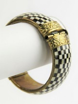 VINTAGE ESTATE TRIBAL BOVINE BONE EBONY WOOD CHECKERBOARD BANGLE BRACELE... - $25.00