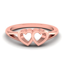 Dual Heart Valentine Gift Love Ring Her Solid 10k Rose Gold Bridal Ring ... - $329.99