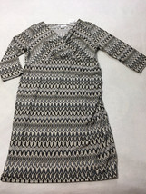 NWT Motherhood Maternity L Large Black White Chevron Dress Cross Over Bo... - $17.99