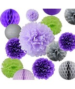 AVAbay 18pcs Party Hanging Tissue Paper Decoration Set for Birthday-Purp... - $16.10